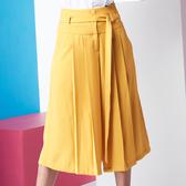 【SHOWCASE】OL簡約素面腰綁帶雙褶顯瘦七分寬褲(黃色)