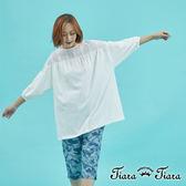 【Tiara Tiara】百貨同步 背鏤空純棉七分袖半開襟襯衫上衣(白/藏青)