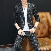 西裝套裝 夏季夜店修身型七分袖印花小西裝兩件套半袖西服套裝 QQ7192『東京衣社』