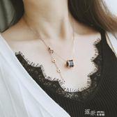 潮流時尚鈦鋼玫瑰金陶瓷圓柱項鍊短款鎖骨鍊女飾品 道禾生活館