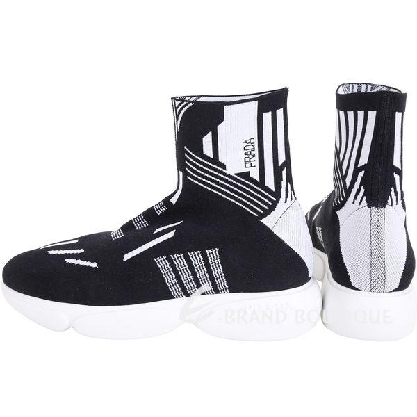 PRADA 幾何線條高筒彈性面料襪套運動鞋(女款)1840586-01