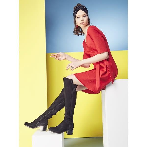 ★2018秋冬★Keeley Ann設計美學~高貴質感鞋跟金屬點綴過膝靴(黑色) -Ann系列