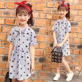 童裝連身裙夏款童裝女童韓版純棉短袖娃娃裙星星連身裙 伊鞋本鋪