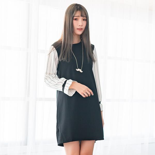 連身洋裝--氣質優雅條紋拼接喇叭袖A字修身百搭圓領長袖連衣裙(黑M-3L)-A336[情人節送禮推薦]