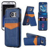 三星 S7 Edge 翻蓋手機殼 折疊支架 全包邊防摔手機皮套 磁性扣保護套 內外可插卡保護殼 S7