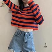 長袖t恤女秋條紋針織寬鬆顯瘦慵懶風短款上衣【愛物及屋】