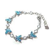 藍色水鑽小蝴蝶與透明鋯石圓型手鍊