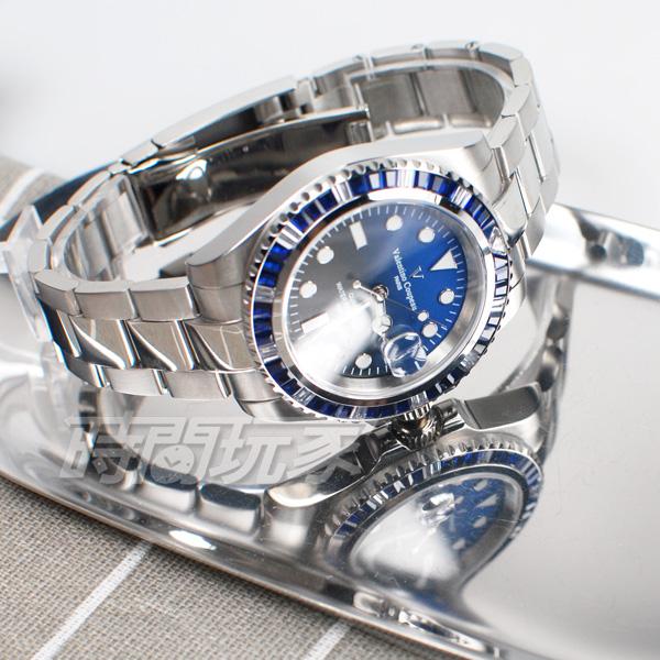valentino coupeau范倫鐵諾 彩虹圈 方晶鋯石 不鏽鋼 防水手錶 男錶 潛水錶 水鬼 石英錶 T61589AAS-6