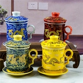 陶瓷老板杯辦公室青花茶杯帶蓋過濾茶水分離辦公杯喝茶泡茶個人杯