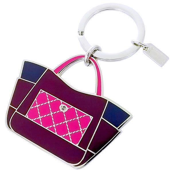米菲客 COACH 66661 紫藍撞色 格紋托特包造型 超級質感金屬材質 鑰匙圈