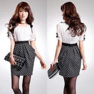 夏裝新款女裝熱賣 時尚修身高貴氣質短袖連衣裙 女
