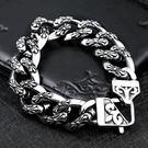 《QBOX 》FASHION 飾品【B10BC8-015】 精緻個性粗曠克羅心十字架鑄造316L鈦鋼手鍊/手環