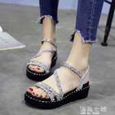 厚底涼鞋水鑚涼鞋女夏季新款韓版時尚百搭仙女的鞋厚底學生軟妹女鞋子 海角七號
