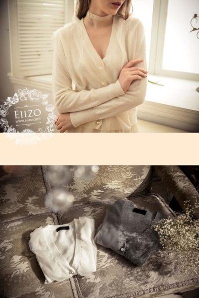 【EIIZO】開襟拼接紗毛衣上衣(兩色)