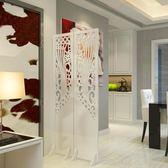 屏風隔斷玄關時尚客廳白色雕花摺疊屏風店鋪櫥窗背景鏤空ATF 米希美衣