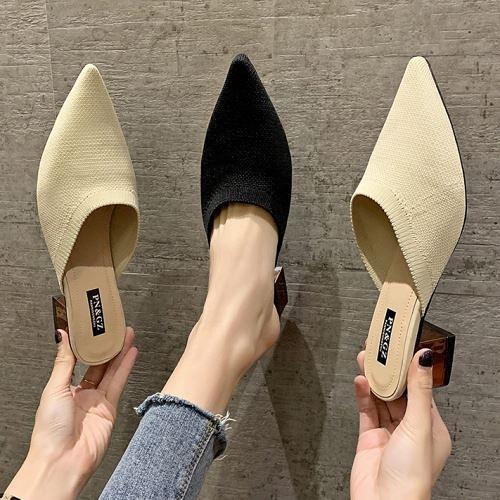 低跟拖鞋.韓版百搭針織顯瘦金屬跟包鞋.白鳥麗子