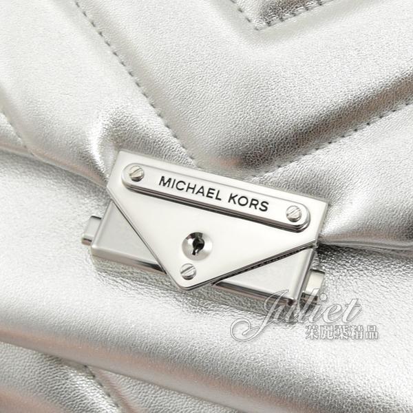 茱麗葉精品【專櫃款 全新展示】MICHAEL KORS CECE 絎縫牛皮金屬鎖頭扣鍊條兩用包.銀