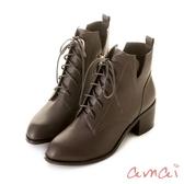 amai《Olivia奧麗薇亞》率性綁帶V口高跟短靴 灰