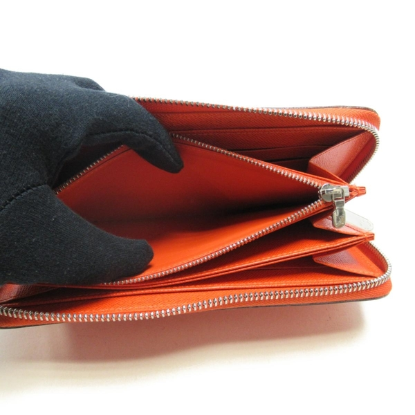 LOUIS VUITTON LV 路易威登 橙色EPI水波紋牛皮ㄇ字型拉鍊長夾 Zippy Wallet BRAND OFF