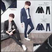 。SW。免運 正韓 韓國製 修身顯瘦 質感 彈性佳 平滑西裝布 窄版  素面成套西裝【K31156】