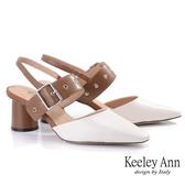 Keeley Ann極簡魅力 寬帶金屬釦粗跟瑪莉珍鞋(棕色) -Ann系列