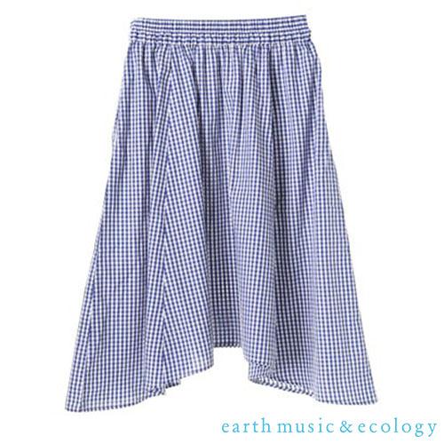 「Hot item」不規則裙擺格紋長裙 - earth music&ecology