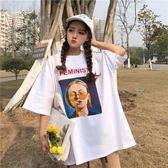 韓國ins寬鬆人物印花原宿風bf短袖T恤女學生半袖打底上衣  生日禮物