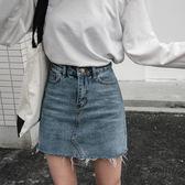 梨卡 - 顯瘦修身高腰開包臀仿舊毛毛短版牛仔裙牛仔短裙BR241