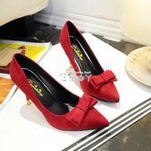 百搭尖頭淺口高跟鞋甜美蝴蝶結細跟單鞋紅色婚鞋女鞋 俏腳丫
