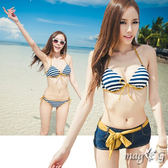 日韓藍色金邊條紋 風M308 鋼圈泳衣平口褲三件式比基尼顯瘦泳裝橘魔法
