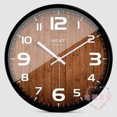滿元秒殺85折 HICAT歐式創意木大號靜音掛鐘現代時尚客廳個性臥室石英時鐘表