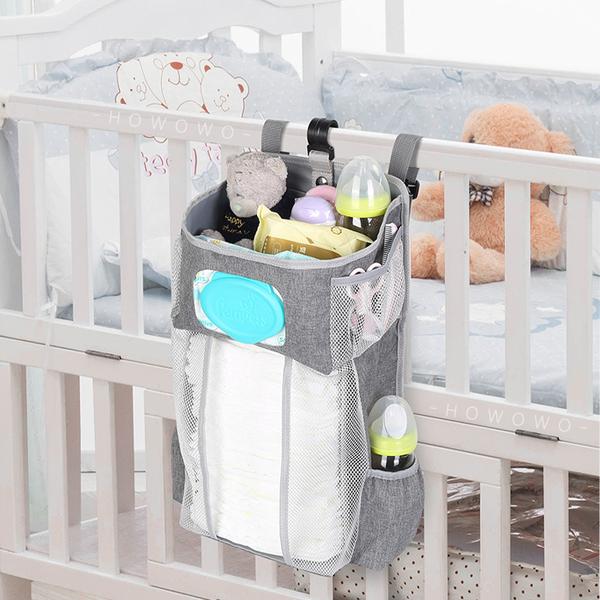 嬰兒床掛袋 玩具收納袋 多夾層 嬰兒床 置物掛袋 尿布收納包 嬰兒床收納袋 側掛袋 JY91601