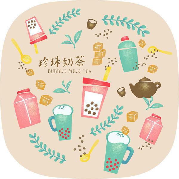 【猴子設計】2313-布杯墊 食遊台灣-珍珠奶茶