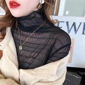 雪紡衫蕾絲打底衫女顯瘦內搭長袖高領網紗上衣【少女顏究院】