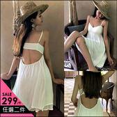 克妹Ke-Mei【AT45745】泰國沙巴島嶼渡假風性感摟空美背吊帶小洋裝