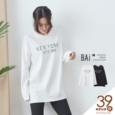 T恤 簡單黑白英文字母印圖長袖上衣-BAi白媽媽【191184】