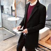 秋季中長款風衣男士韓版修身型時尚外套毛呢子大衣青年潮流衣服男