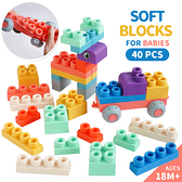40PCS彩色DIY安全益智車輪軟積木 玩具 安全積木