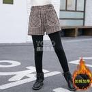 女童褲子加絨打底褲外穿秋冬季新款加厚一體絨洋氣保暖兒童假兩件新年禮物