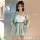 西裝套裝 雪紡套裝女 正韓抹茶綠半袖小西服外套松緊腰寬管褲短褲
