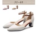 大尺碼女鞋小尺碼女鞋尖頭拚色繞帶粗跟中跟...