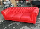 【南洋風休閒傢俱】沙發系列-英式三人格子沙發 PU皮沙發