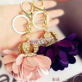 掛飾 韓版水鑽皇冠汽車鑰匙扣 女款鑲鑽可愛花球包包掛飾 小掛件 數碼人生