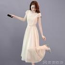 (快速)雪紡洋裝 女夏季長裙年新款收腰遮肚顯瘦名媛氣質溫柔風雪紡裙子