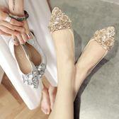 蛋卷女鞋女平底鞋蛋卷單鞋軟底大碼淑女鞋軟皮花朵水?舒適工作鞋禮物限時八九折