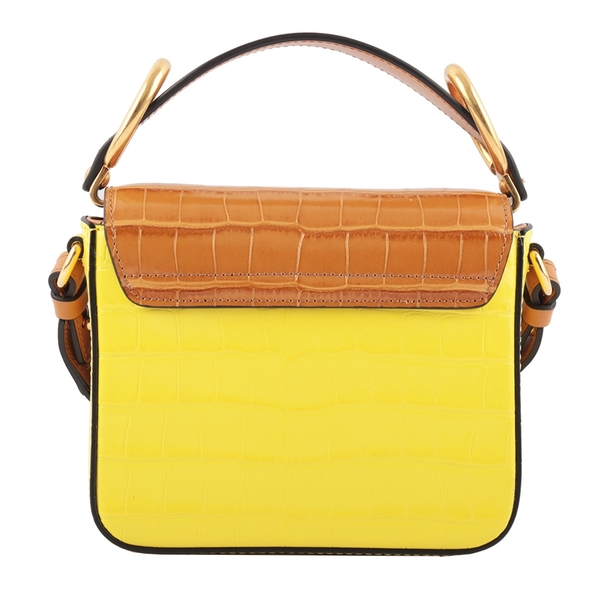 【CHLOE】Mini C Bag拼色牛皮壓鱷魚紋手提/斜背兩用包(焦糖/黃) CHC20SS193C36705