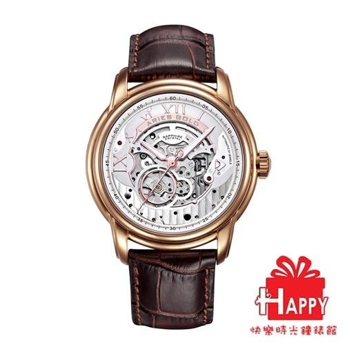 ARIES GOLD 雅力士 EL TORO 自動上鍊縷空機械錶-玫瑰金X咖啡色 G 9005 RG-S