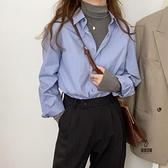 襯衫女春秋款長袖百搭復古港味藍色內搭打底疊穿襯衣【愛物及屋】