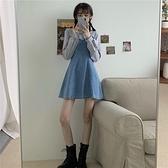 假兩件長袖復古牛仔裙女裝連身裙2020新款秋季收腰顯瘦設計感裙子