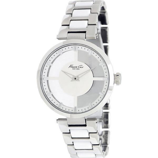 【台南 時代鐘錶 Kenneth Cole】IKC4827 美國都會時尚 俐落氣質透視腕錶 白銀 36mm 公司貨